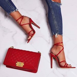 Red Pointed Toe Strap Heel